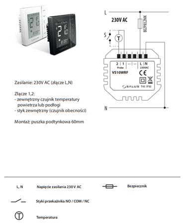 Bezprzewodowy, podtynkowy, cyfrowy regulator temperatury sieci ZigBee, 4w1, 230V, czarny