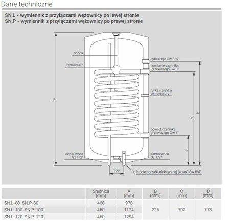 Wymiennik c.w.u. pionowy wiszący 120 P z wężownicą, przyłącza po prawej stronie SN.P-120 Termo Comfort